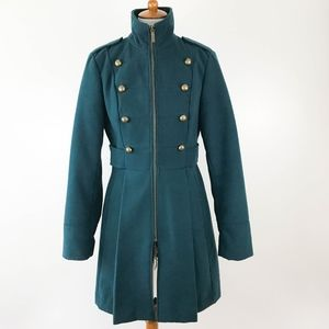 Decree Military Peacoat Medium Pleated Brass Teal